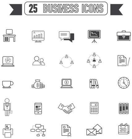 office tool: Flat line silhouette business and office tool equipment sign and symbol icon collection set, create by vector