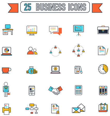 salaryman: Flat line business and office tool equipment sign and symbol icon collection set, create by vector