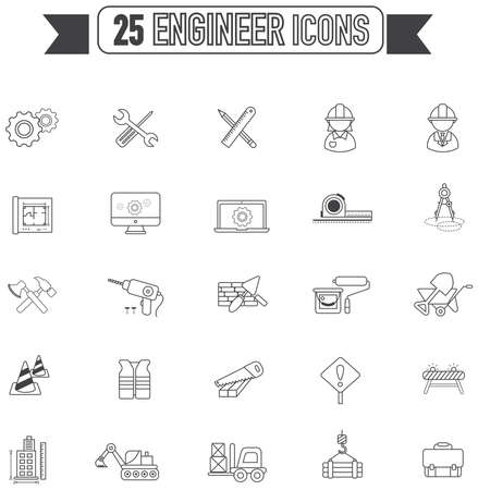 engineering tool: Flat line silhouette Civil engineering, maintenance labor, excavator transport and construction site industry graphic tool equipment sign and symbol icon collection set, create by vector Illustration