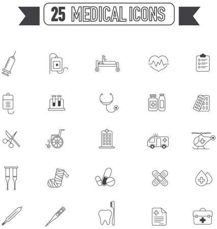 Vlakke lijn silhouet medische, artsen en het ziekenhuis hulpmiddel apparatuur teken en symbool icoon collectie set, creëren door vector Stock Illustratie
