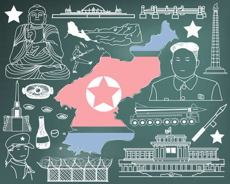 korea food: Travel to North Korea (if you can) doodle drawing icon with culture, costume, landmark and cuisine tourism concept in blackboard background, create by vector