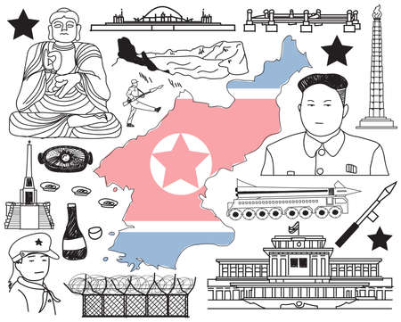 monument valley: Travel to North Korea (if you can) doodle drawing icon with culture, costume, landmark and cuisine tourism concept in isolated background, create by vector Illustration