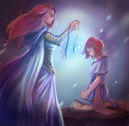 heroine: Cartoon fantasy illustration of a goddess queen is giving a crystal pendant to young princess in fantasy girl heroine medieval concept