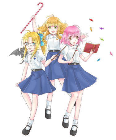 sexy teenage girl: Cartoon illustration group of cute modern schoolgirl fantasy witch students in Thai high school uniform with wand in magical schoolgirl concept in isolated background in Japanese manga style