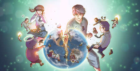 cartoon earth: A cartoon illustration of a great powerful Asian man or super hero god smashing the earth into pieces with earthling people reborn into angels in destructive hero god concept Stock Photo