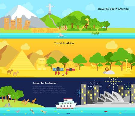 Viajes y turismo en el continente principal de América del Sur, África, y la infografía disposición de diseño de la bandera insignia de Australia, crear por el vector Ilustración de vector