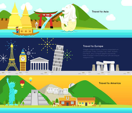 bigben: Travel and tourism to the main continent of Asia, Europe, and America infographic banner badge design layout, create by vector Illustration