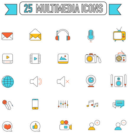 multimedia icon: Flat line color multimedia and social media tool equipment sign and symbol icon collection set, create by vector