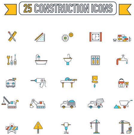 tractor warning sign: Flat line color engineering and construction site industry graphic tool equipment sign and symbol icon collection set 2, create by vector