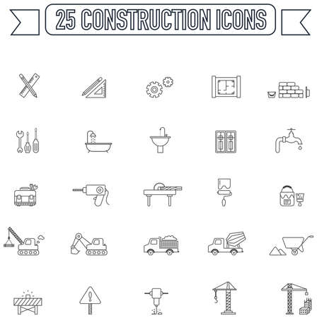 construction icon: Flat line  silhouette engineering and construction site industry graphic tool equipment sign and symbol icon collection set 2, create by vector
