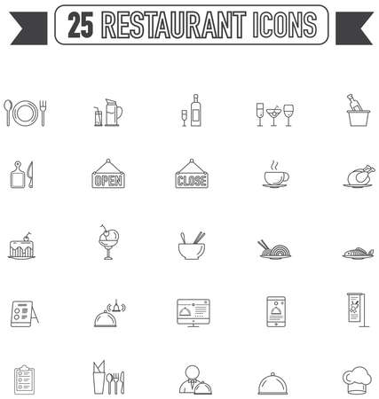 food and beverage: Flat line silhouette  food beverage and restaurant graphic sign and symbol icon collection set, create by vector