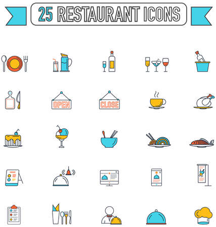 food and beverage: Flat line color food beverage and restaurant graphic sign and symbol icon collection set, create by vector Illustration
