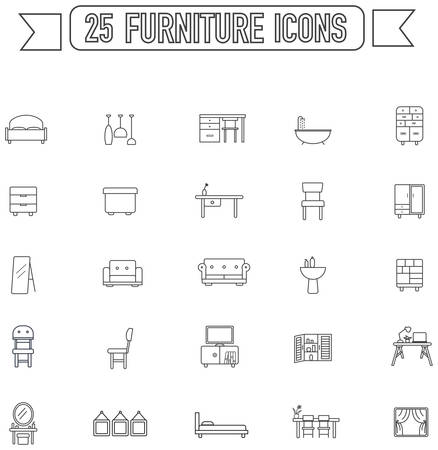 armchair shopping: Flat line silhouette  furniture and home appliance interior graphic sign and symbol icon collection set, create by vector