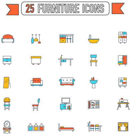 armchair: Flat line color furniture and home appliance interior graphic sign and symbol icon collection set, create by vector