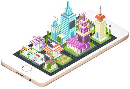 Gebouw, huis, commerciële bouwen en stadsbeeld architectuur op een slimme telefoon mobiele scherm met netwerk-technologie applicatie-concept in 3D isometrische ontwerp in geïsoleerde achtergrond, creëren door vector