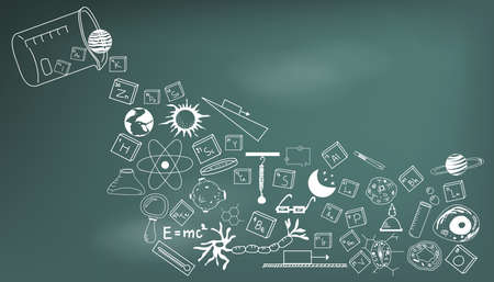Physics, chemistry, biology and astronomy science doodle handwriting theory and tool icon pouring from lab beaker bottle in blackboard background paper used for school education and document decoration, create by vector Stock Illustratie