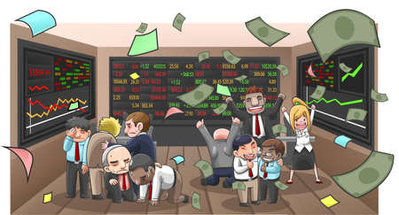 Cartoon illustration of businesspeople, broker, and investor in stock market with money flying with wealth and lost from investment, create by vector