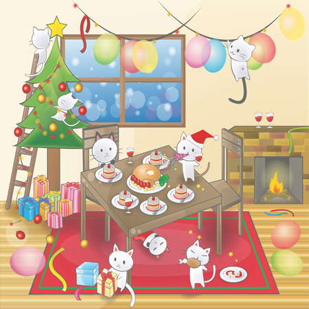 party cartoon: Cute cartoon of little cats are celebrating a Christmas party in a decorated room (vector). Illustration