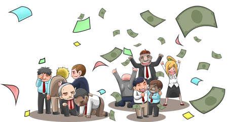 money flying: Ilustración de dibujos animados de acertado y no empresarios, agente, y los inversores en bolsa con el dinero del vuelo con la riqueza y la pérdida de la inversión. un balance financiero de éxito del negocio y fallar concepto de diversidad en el fondo aislado, crear por el vector