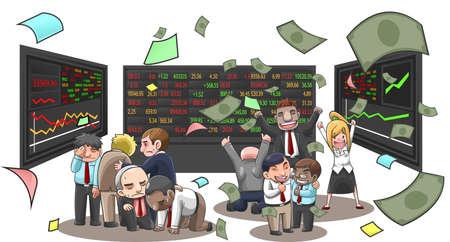 Ilustración de dibujos animados de los empresarios, agente, y de los inversores en el mercado de valores. El hombre de negocios con el dinero del vuelo con la riqueza y la pérdida de la inversión de las empresas de valores en el fondo aislado, crear por el vector Ilustración de vector