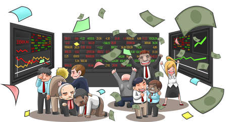 Ilustracja Cartoon przedsiębiorców, brokerów i inwestorów na rynku akcji. Biznesmen z pieniędzmi latania z bogactwa i stracił z działalności stock inwestycji w tle pojedyncze, tworzenie przez wektor Ilustracje wektorowe