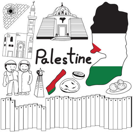 pilgrim costume: Travel to Palestine doodle drawing icon. Doodle with culture, costume, landmark and cuisine of Palestine with friendly Israel tourism concept in isolated background, create by vector