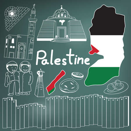 Travel to Palestine doodle drawing icon. Doodle with culture, costume, landmark and cuisine of Palestine with friendly Israel tourism concept in blackboard background, create by vector