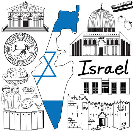 al aqsa: Travel to Israel doodle drawing icon. Doodle with culture, costume, landmark and cuisine of Israel with friendly Palestine tourism concept in isolated background, create by vector Illustration