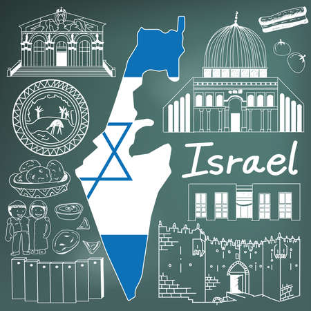 Travel to Israel doodle drawing icon. Doodle with culture, costume, landmark and cuisine of Israel with friendly Palestine tourism concept in blackboard background, create by vector Stock Vector - 68191252