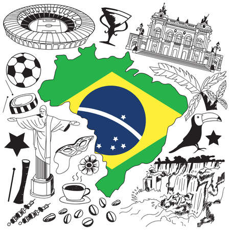 Travel to Brazil doodle drawing icon. Doodle with culture, costume, landmark and cuisine of Brazil tourism concept in isolated background, create by vector