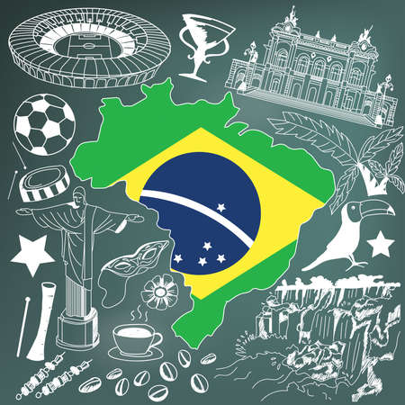 Travel to Brazil doodle drawing icon. Doodle with culture, costume, landmark and cuisine of Brazil tourism conceptin in blackboard background, create by vector Illustration