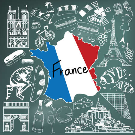 Travel to France doodle drawing icon. Doodle with culture, costume, landmark and cuisine of France tourism concept in blackboard background, create by vector 일러스트