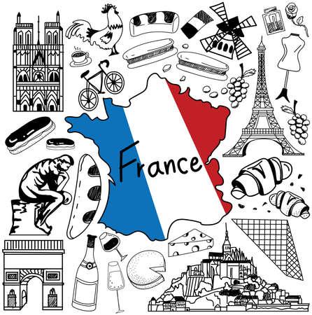 프랑스 낙서 드로잉 아이콘 여행. 문화, 의상, 랜드 마크와 요리의 낙서 격리 된 백그라운드에서 관광 컨셉, 벡터에 의해 만들