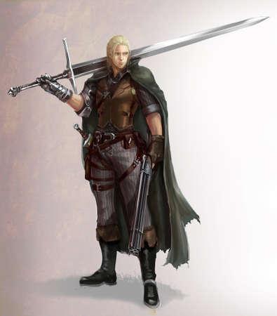 Cartoon karakter illustratie van een mannelijke fantasie krijger met zwaard en geweer. Character design met jager en krijger in fantasie fictie concept.