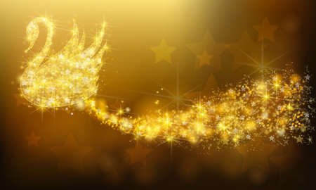 Golden sparkle jewelry swan bird floating with glittering stars pattern in advertisement promotion or seasonal holiday celebration colorful background