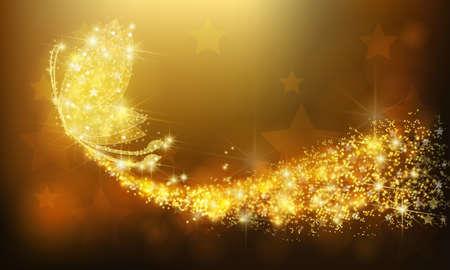 papillon bijoux éclat d'or insecte volant avec scintillante stars modèle dans la promotion publicité ou d'une fête de vacances saisonnière fond coloré