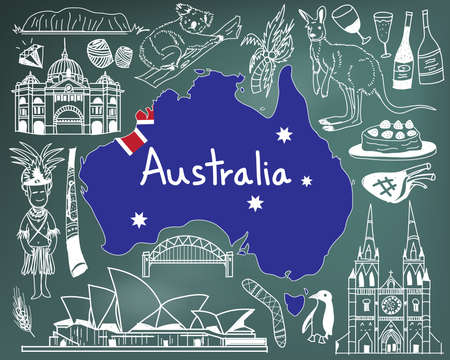 Travel to Australia doodle drawing icon with people, culture, costume, landmark and cuisine tourism concept in blackboard background