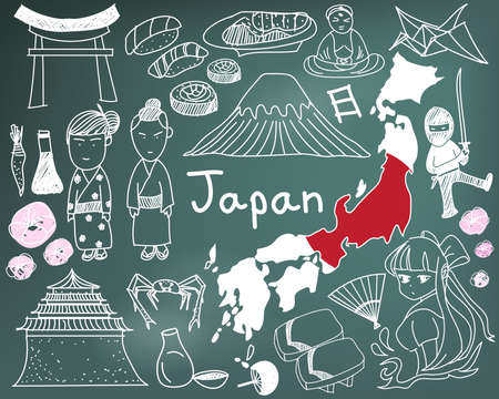 Travel to Japan doodle drawing icon with culture, costume, landmark and cuisine tourism concept in blackboard background
