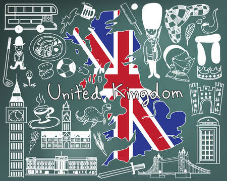 buckingham: Travel to United kingdom England and Scotland doodle drawing icon with culture, costume, landmark and cuisine tourism concept in blackboard background Illustration