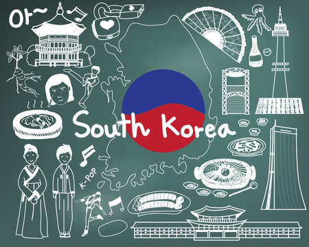 korea food: Travel to South Korean doodle drawing icon with culture, costume, landmark and cuisine tourism concept in blackboard background