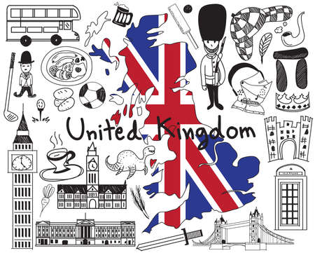 Travel to United kingdom England and Scotland doodle drawing icon with culture, costume, landmark and cuisine tourism concept in isolated background Illustration