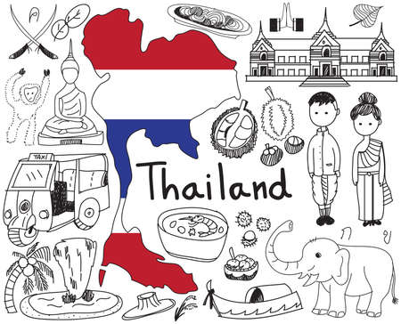 thailand culture: Travel to Thailand (Siam) doodle drawing icon with culture, costume, landmark and cuisine tourism concept in isolated background Illustration