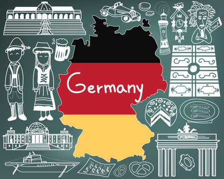 Travel to Germany doodle drawing icon with culture, costume, landmark and cuisine tourism concept in blackboard background Illustration