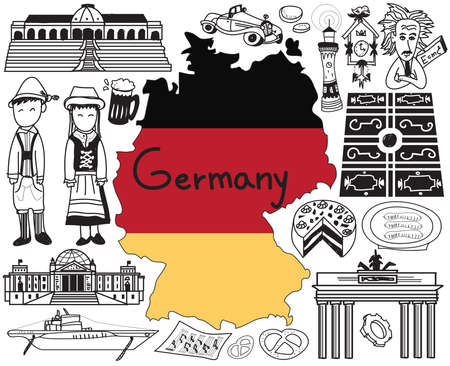 Travel to Germany doodle drawing icon with culture, costume, landmark and cuisine tourism concept in isolated background