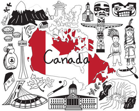 vancouver city: Travel to Canada doodle drawing icon with culture, costume, landmark and cuisine tourism concept in isolated background