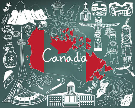 Travel to Canada doodle drawing icon with culture, costume, landmark and cuisine tourism concept in blackboard background