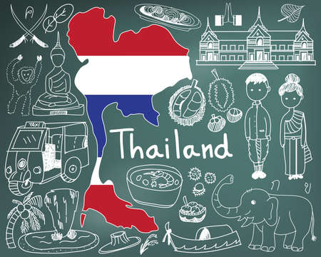 Travel to Thailand (Siam) doodle drawing icon with culture, costume, landmark and cuisine tourism concept in blackboard background