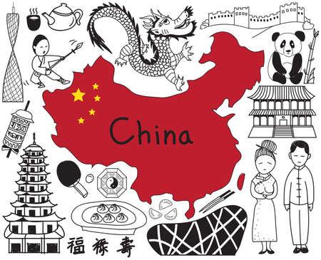 Reis naar China doodle tekening icoon met cultuur, kostuum, oriëntatiepunt en keuken toerisme concept in geïsoleerde achtergrond