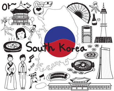 Voyagez à l'icône du dessin du doodle sud-coréen avec la culture, le costume, le point de repère et le concept du tourisme gastronomique en arrière-plan isolé