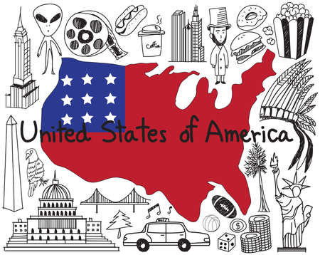 Travel to United state of America doodle drawing icon with culture, costume, landmark and cuisine tourism concept in isolated background
